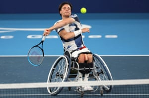 Gordon Reid of Britain in action during his match against Leon Els of South Africa.