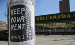 A sign publicizing a rent strike in Toronto. Eviction moratoriums have been issued across the world as the pandemic spreads.