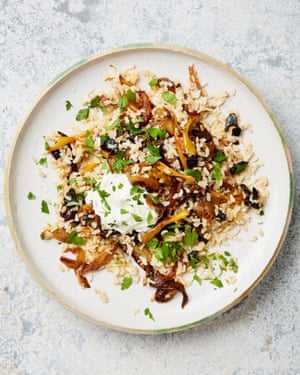 Yotam Ottolenghi's brown rice with caramelised onion and black garlic