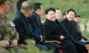 Kim Jong-un relaxing with executives during a choral concert at the Paektusan Hero Youth Power Station