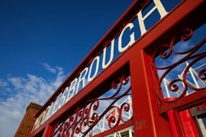 The old entrance gates to Ayresome Park which are now located outside the Riverside Stadium between a pair of statues dedicated to two former Boro greats; George Hardwick & Wilf Mannion.