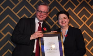 Ruth Davidson at the Spectator awards last night, where Michael Gove (left) presented her with the parliamentarian of the year award.