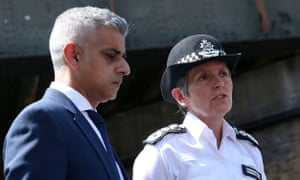 The mayor of London, Sadiq Khan, with the Metropolitan police commissioner, Cressida Dick