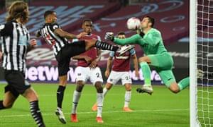 Newcastle United's Callum Wilson scores their first goal.