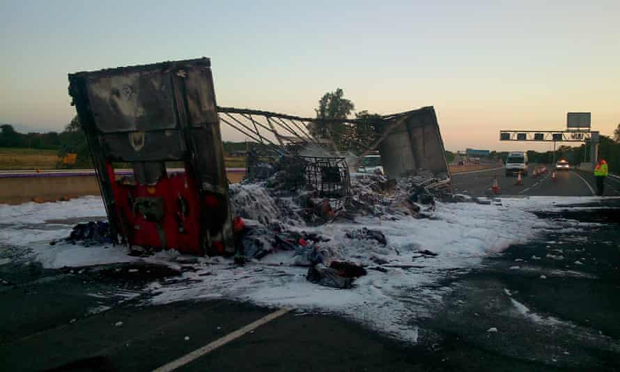 Aftermath of lorry fire on M6