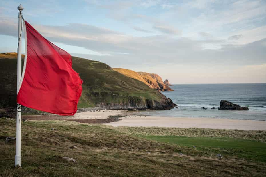 A Ministry of Defence flag flies over Cape Wrath