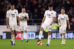 Morgan Gibbs-White, Raul Jimenez and teammates look dejected as Wolves' poor form continues.
