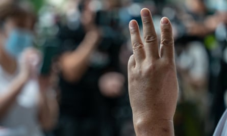 A pro-democracy activist gestures during a rally in Hong Kong