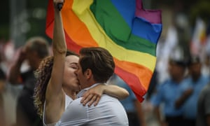 A couple at the Bucharest pride parade.