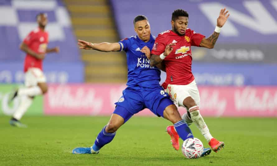 Leicester City's Youri Tielemans tackles Fred of Manchester United