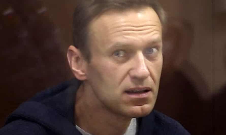 Alexei Navalny in Moscow on Friday at a hearing into the case over his alleged defamation of a war veteran