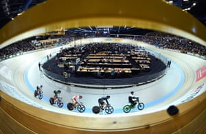 Japan's Tomoyuki Kawabata (third right) in action at the 2018 UCI Track Cycling World Championships in Apeldoorn, where he won a silver medal