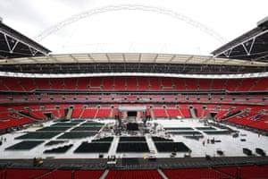 Wembley Stadium prepares for 90,000 fans on Saturday night.
