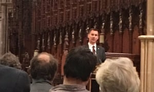 Jeremy Hunt, the health secretary, speaks at a memorial service for William Mead in Truro, Cornwall.