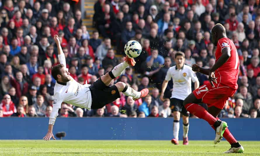 Juan Mata scores a spectacular volley during Manchester United's 2-1 win at Anfield in 2015, under Louis van Gaal.