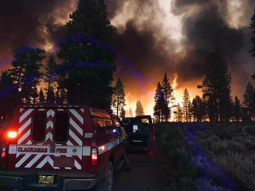 The Bootleg fire burns in south-east Oregon on Wednesday.