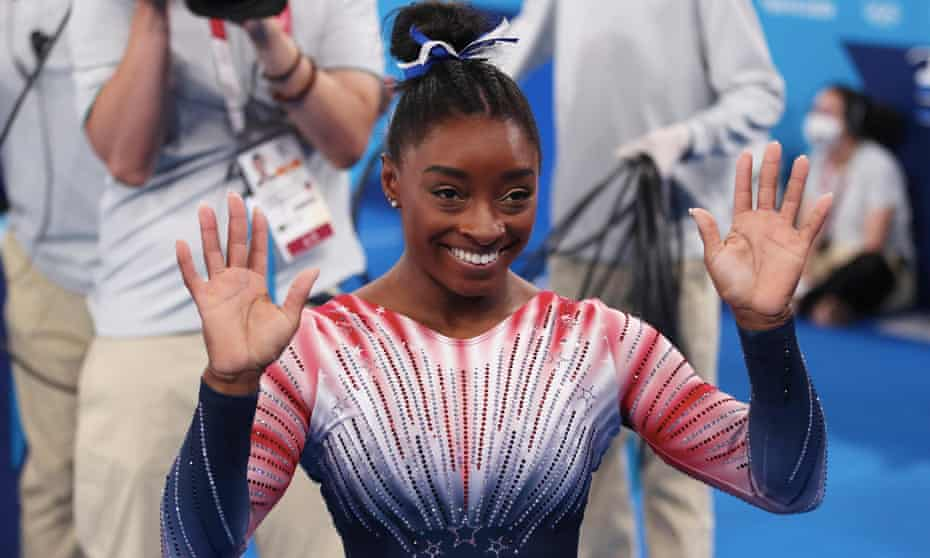 Simone Biles celebrates her Olympic bronze medal in Tokyo on Tuesday