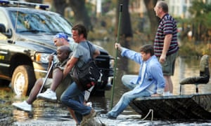 Sean Penn rescuing survivors of Hurricane Katrina