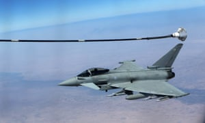 An RAF Typhoon aircraft prepares for refuel from a tanker aircraft during a mission over central Iraq