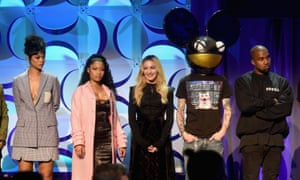 Rihanna, Nicki Minaj, Madonna, Deadmau5, and Kanye West onstage at the Tidal launch event.
