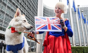 British cartoonist Madeleina Kay protest against Brexit in front of the European commission headquarters