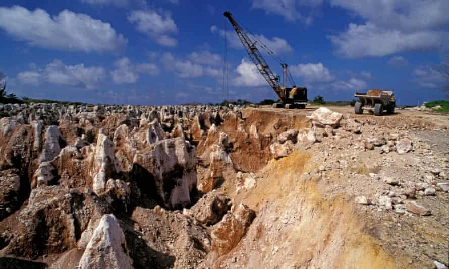 A phosphate mining site on Nauru, now exhausted, leaving a barren terrain of limestone pinnacles.
