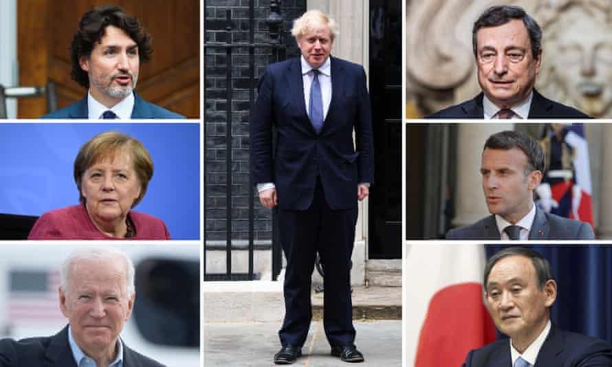 G7 leaders: clockwise from top right: Mario Draghi, Emmanuel Macron, Yoshihide Suga, BorisJohnson, Joe Biden, Angela Merkel and Justin Trudeau