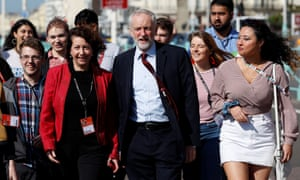 Party leader Jeremy Corbyn arrives at Labour's annual conference in Brighton.
