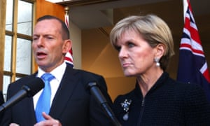Prime Minister Tony Abbott and Foreign Minister Julie Bishop at a press conference in Parliament House Canberra this afternoon, Wednesday 9th September 2015. Photograph by Mike Bowers