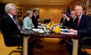 Olly Robbins, seated to the left of the prime minister at breakfast.