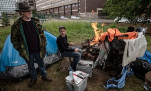 Steve from Stepney Green and David from Belfast are living in a camp in Northampton on a derelict bus station site.