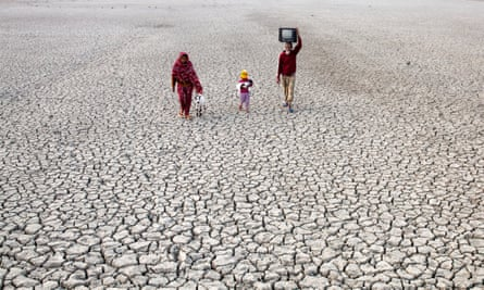 Villagers on dried river bed in Satkhira, Bangladesh.