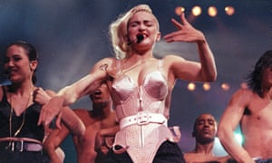 Madonna performs during her Blond Ambition tour in Worcester, Massachusetts.