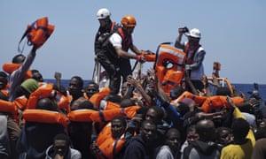 People rescued at sea by Médecins sans Frontières and SOS Méditerranée