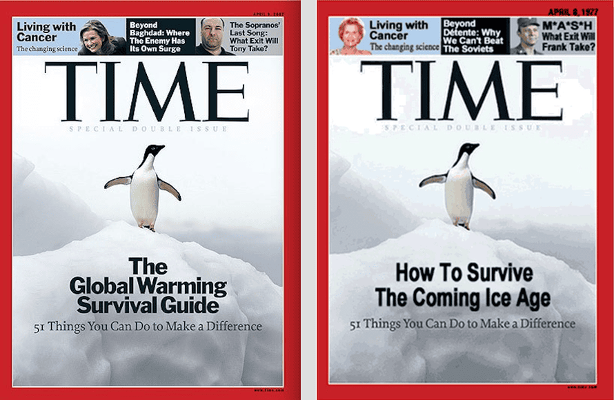 A real Time magazine special issue cover from 2007 (left frame), and the faked version (right frame).