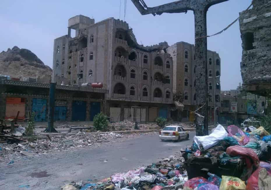 Bomb damage in Al Sabri's neighbourhood, December 2018
