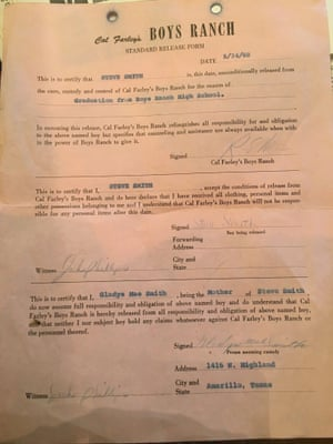 Steve Smith's standard release form from Cal Farley's.