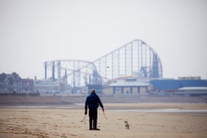 Blackpool, UK: a near-deserted beach is seen during the continuing coronavirus pandemic