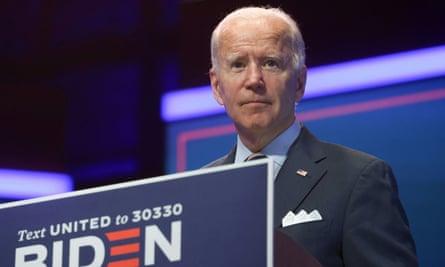 Joe Biden in Wilmington, Delaware, on 16 September.