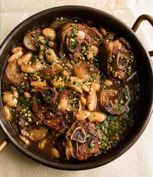 Slow and easy: pork with sherry and beans.