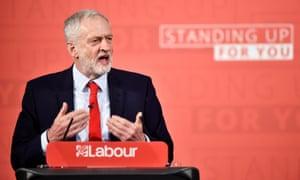 Jeremy Corbyn speaking at lectern