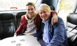 Joey Essex (left) interviewing Boris Johnson, on the Vote Leave campaign bus in Lancashire.