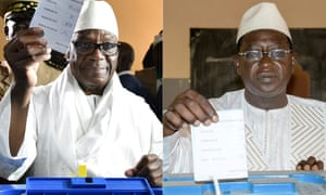 Current president Ibrahim Boubacar Keita (L) preparing to cast his vote in Bamako, on July 29, 2018, and Mali's opposition leader and presidential candidate Soumaila Cisse casting his ballot at the polling station in Niafounke.