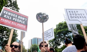 Demonstrators in Sydney take part in rally against the NSW government's lockout laws on 21 February.