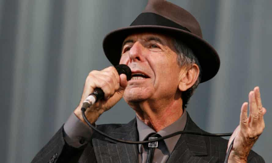 Leonard Cohen performing at the Glastonbury festival, 2008.