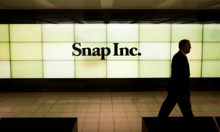 A screen at the New York stock exchange. Shares in the messaging app's parent company Snap have fallen sharply.