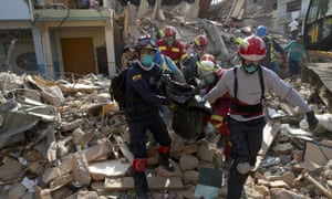 Workers in the aftermath of the 2016 earthquake in Ecuador