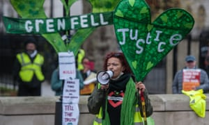 Grenfell survivors and their supporters protest at Downing Street.