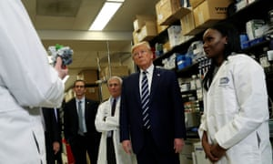 Donald Trump at the National Institutes of Health's Vaccine Research Center in Maryland, 3 March.