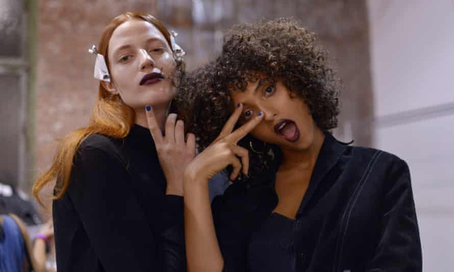 Backstage at the DKNY show spring summer 2017.